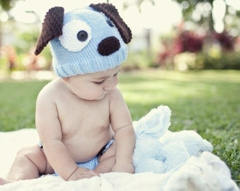 Knitted Baby Beanie Hat and Diaper Cover Blue Puppy Dog