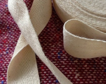 100 % natural color 3/4 inch cotton ribbon :  1 roll /  10 yards