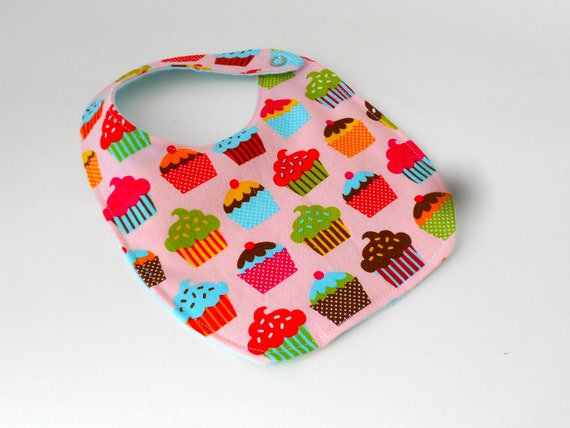 Cupcakes Reversible Bib, Pink and Blue