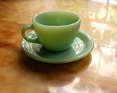 Fire King Jadeite Cup and Saucer - Restaurant Ware - Rare