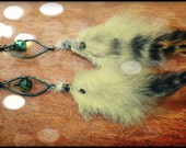 Green Amber Leaf feather earrings