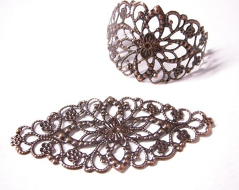 8pc large antique copper filigree fancy wraps-5409