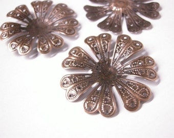 8pc 40mm antique copper filigree fancy wraps-5413