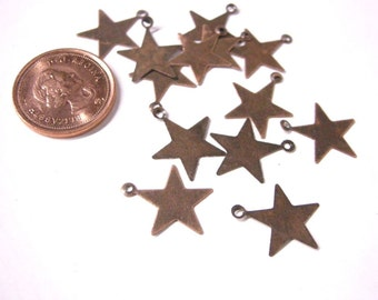 100pc antique copper finish star stape metal drops-5484