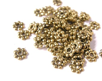 50pc 6mm antique gold metal daisy beads-5515