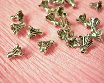 50pc 5mm antique silver metal bead cap-2086