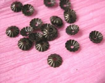 100pc 6mm antique bronze metal bead cap-2109