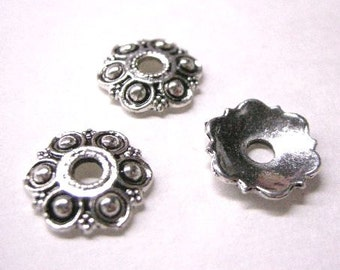 12pc 13mm antique silver metal bead cap-5808