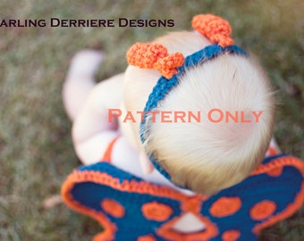 Instant Download PDF Butterfly Wings Headband and Diaper Cover Crochet Pattern