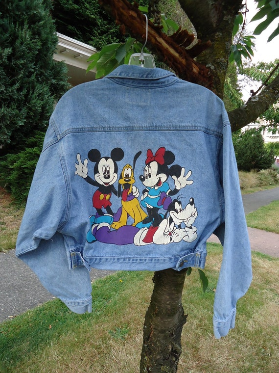 RESERVED Do Not Buy Vintage 80s/90s Mickey Mouse Denim Light Wash Cropped Jacket With Graphic Print on Back  M/L