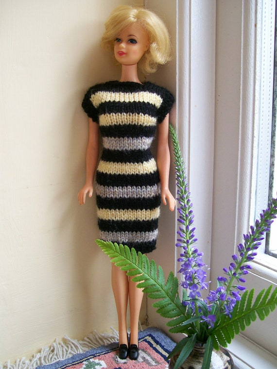 Barbie clothes - black, yellow and beige striped dress