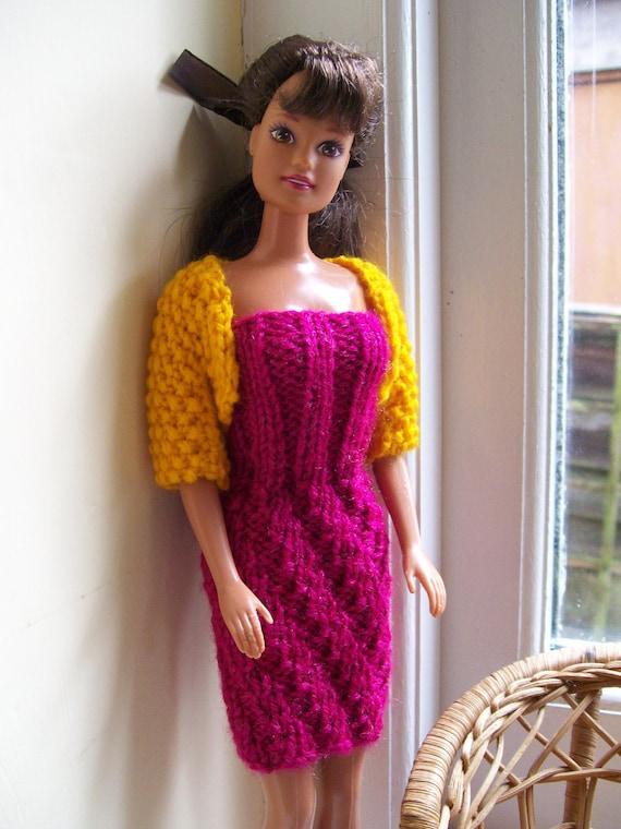 Barbie clothes - cerise pink dress with orange bolero jacket