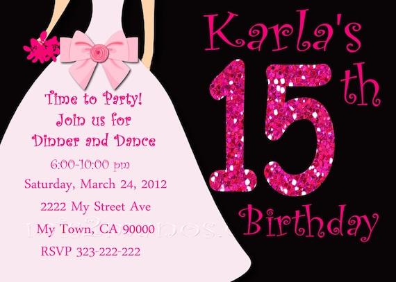 Sweet 15 Invitation Invitaciones de 15 años by M2MPartyDesigns