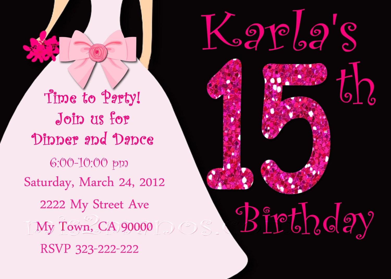 Texto De 15 Anos: Sweet 15 Invitation Invitaciones De 15 Años By M2MPartyDesigns