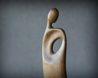 Person V - modern wood sculpture, unique hand carved wood statue
