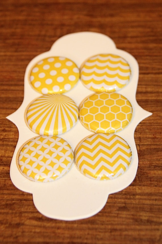 yellow pattern collection flair buttons