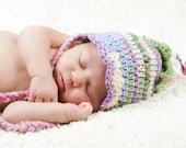 Garden Fairy Hat - Bonnet -  0- 3 months - Baby GIRL Crochet -