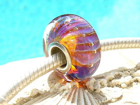 SWEET SANGRIA OPAL Fully Lined Sterling Silver Big Hole Bead fits Troll Trollbeads Chamilia European Charm Bracelets Handmade Lampwork