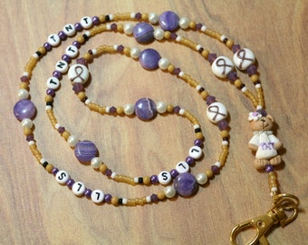 O O A K - Handmade Polymer Clay, Amethyst, & Glass Beaded Lanyard ID Badge Holder - TSHIRT BEAR- AW135