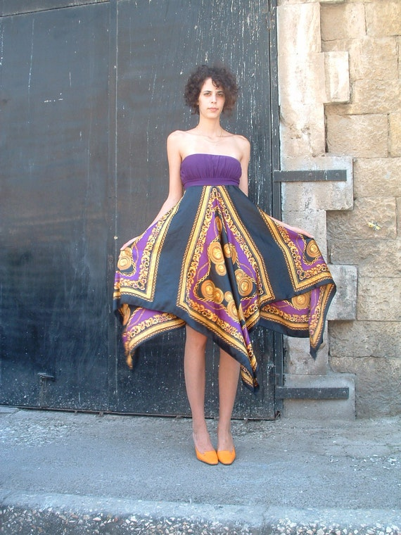 reserved JEAN PAUL GAULTIER silk dress  made  in Italy  circa 1970's size 4
