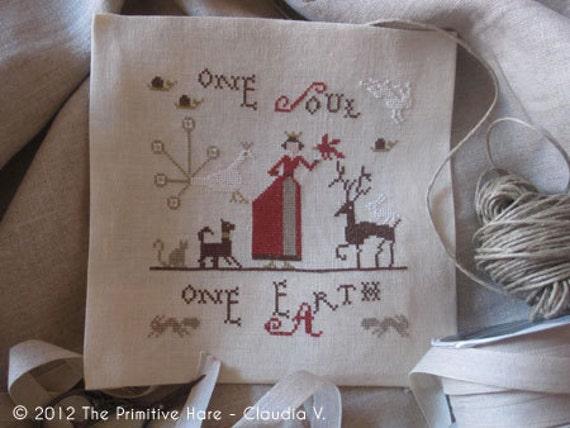 Primitive cross stitch pattern: One Soul One Eath