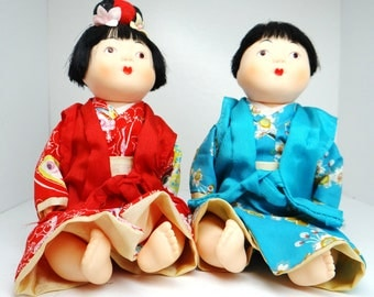 Vintage Asian dolls, resin dolls