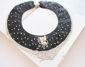 black collar necklace-Jewelry Embroidered--  collar necklace-Vintage Style Hand Embroidered-embroidered with glittering OOAK