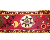 Extra Large and Long Hand Embroidered Vintage Suzani Pillow Case with Cream Cotton Back (Yellow, Purple, Green, Cream, Red) 20'' x 52''