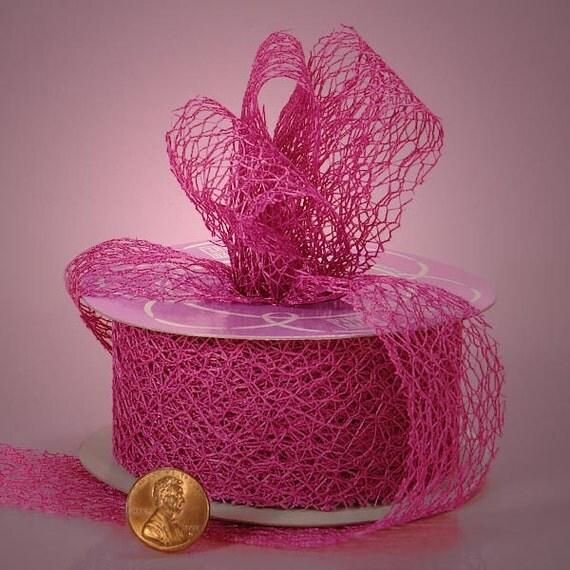 "1.5"" Random Fiber Mesh Ribbon Hot Pink Color (10 yards)"