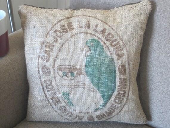 Throw Pillow, Recycled Burlap Coffee Sack Pillow, Burlap Throw Pillow,