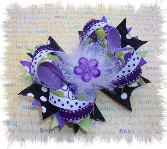 Stacked Hair Bows - Stacked Boutique Hairbows - Floral Hair bows- Green  Purple and Black Hair Bow - Boutique Hair bows - Hair accessories