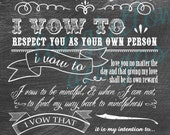 Customized Wedding Vows - Chalkboard Look PRINT (Custom Colors Available Upon Request) - 10 x 20