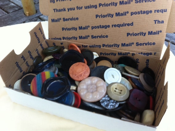 Large Vintage Buttons Mix, Lot of 160 Large Buttons