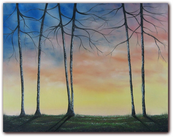 Original Tree Art Oil Painting, Forest Art Landscape Painting, Forest Landscape with Bare Trees, 14 x 18, The Forest's Edge