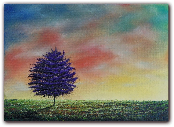 Original Landscape Oil Painting, Contemporary Impressionist Art Tree Painting, Sunset Painting, Canvas Art, 5 x 7, Nature's View