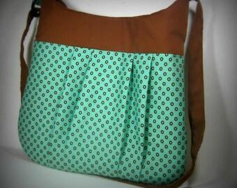 Polka Dot Bag in Teal and Chocolate brown / crossover shoulder bag / purse / bag / tote / diaper bag / messanger bag