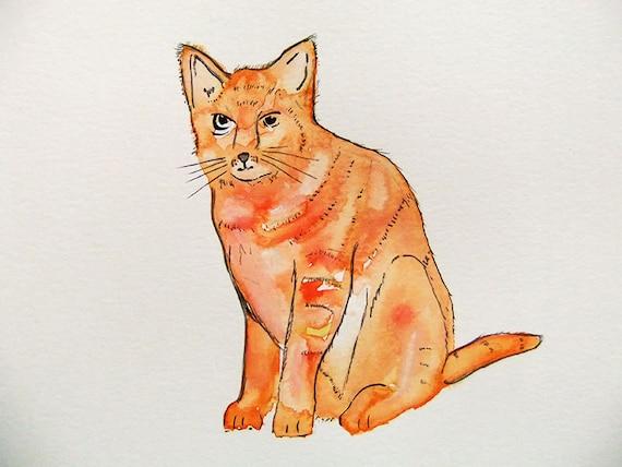 Original Watercolor Painting-Orange Cat
