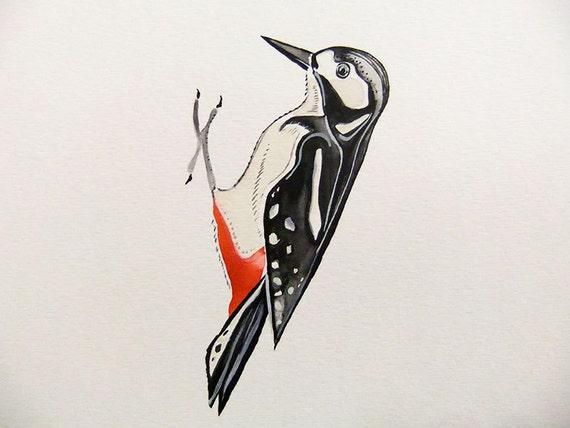 Woodpecker-Original Watercolor Painting