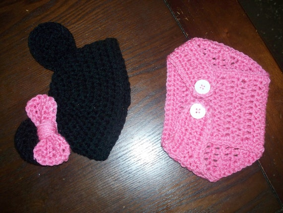 Newborn Baby Minnie Mouse Hat & Diaper Cover Set