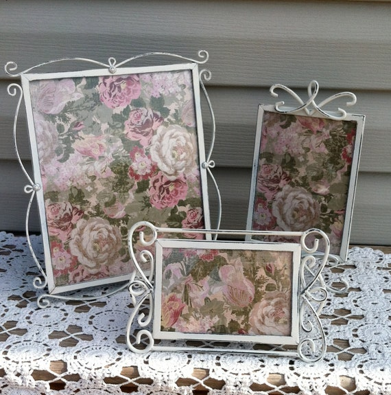 Country French White Iron Picture Frame Group / Upcycled / Shabby Chic / Victorian