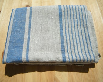 Natural Linen Bath Sauna Towel - Huckaback - Blue Stripe- Pure Flax- Bathroom Linens - Badetuch.