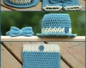 PDF Crochet Pattern Little Mister Fedora, Short Pants, Bowtie baby, infant, toddler sizes