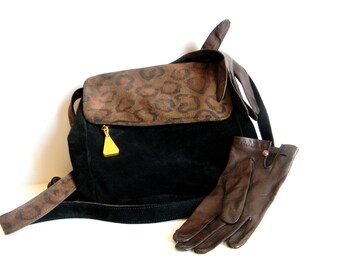 Vintage Satchel Purse Americana by Sharif Suede Handbag Black Brown Animal Print Shoulder Bag. Crossbody bag.
