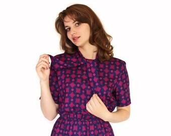 70s Necktie Dress. Navy Blue Fuchsia Dress. Office Dress. Day Dress. Mad Men Fashion. Size Small Petite. Back to school