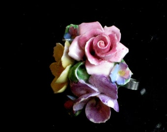 Vintage Jewelry, Coalport floral china bouquet brooch, made in England, bone china, pretty spring colors
