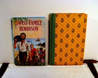 Swiss Family Robinson and Whispering Rails, two children's adventure stories, set of two vintage hardcover books