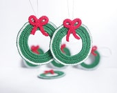 RESERVED TO ERICA: Crochet Christmas hanging decoration ornament wreath set of 6 cotton red white green