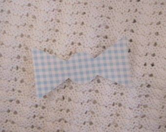 No Sew Iron-on Blue and White Gingham TODDLER bow tie applique