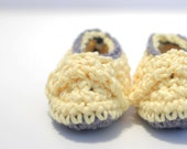 Crochet Baby Booties - Yellow and Gray - Made to Order