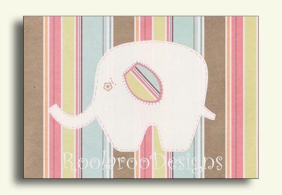 Elephant Nursery Decor, Baby Girl Wall Art Print, Pink, Yellow, Blue Stripes  Print, Striped Ellie - PRINT